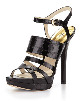 Nadja Croc-Embossed Platform Sandal, Black