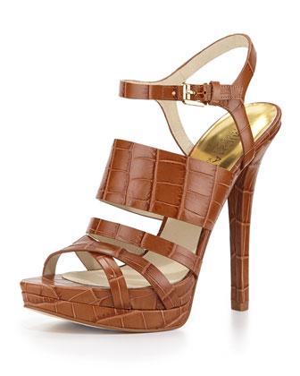 Nadja Croc-Embossed Platform Sandal, Walnut