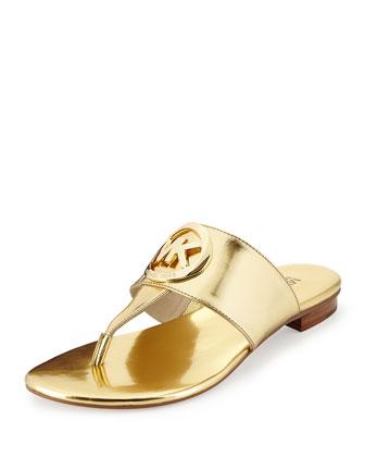 Racquel Logo Thong Sandal, Gold