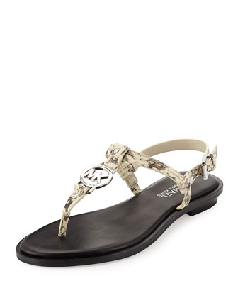 Sondra Snake-Print Logo Thong Sandal, Natural