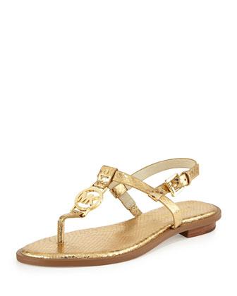 Sondra Snake-Print Logo Thong Sandal, Pale Gold