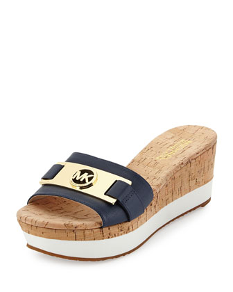 Warren Platform Wedge Slide, Navy
