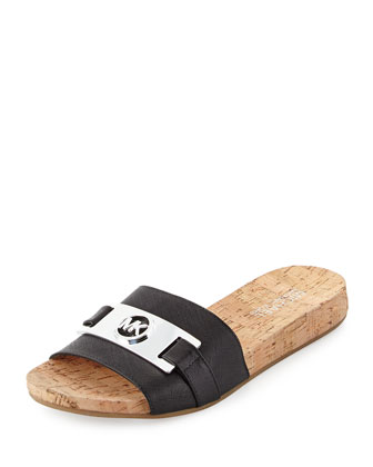 Warren Leather Slide, Black