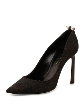 Glitter Pearly-Bar Pump, Black