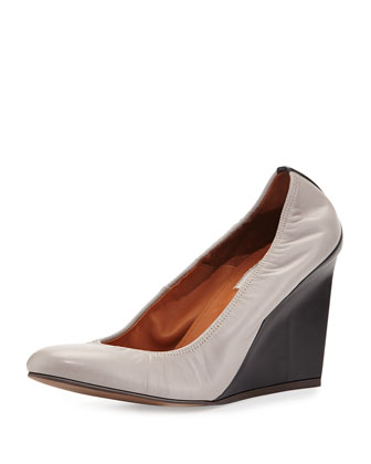 Ballerina Wedge Pump, Gray/Black