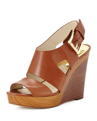 Carla Platform Wedge Sandal, Luggage
