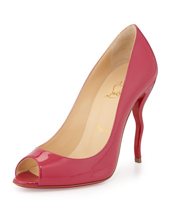 Jolly Patent Squiggle-Heel Red Sole Pump, Fuchsia