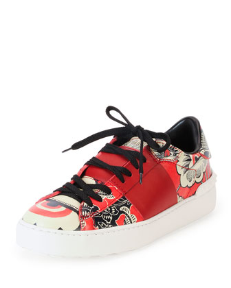 Printed Leather Open-Laced Low-Top Sneaker