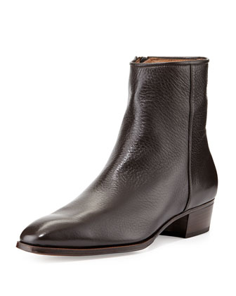 Leather Side-Zip Ankle Boot, Brown