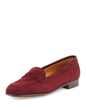 Suede Penny Loafer, Black