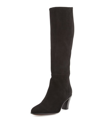 Suede Side-Zip Knee Boot, Black