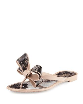 PVC Lace Flip-Flop Sandal, Poudre/Nero