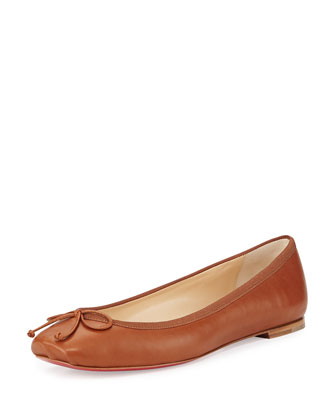 Rosella Napa Leather Ballet Flat, Brown