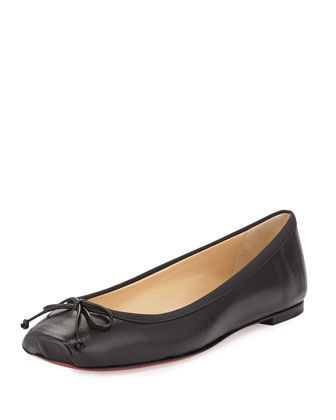 Square-Toe Ballerina Flat, Black