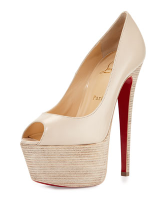 Jamie Platform Red Sole Pump, Cream