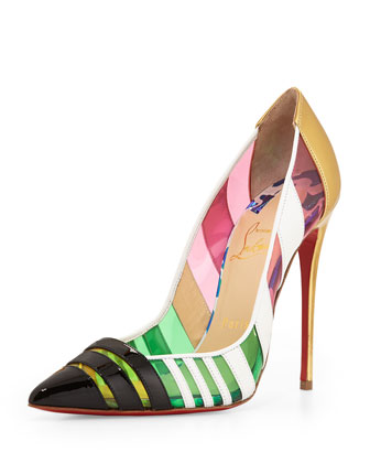 Front Double Multicolor PVC & Leather Red Sole Pump, Green/Pink/Multi