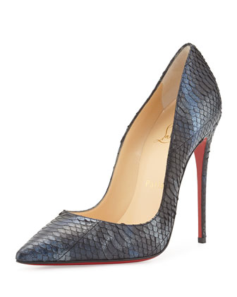Metallic Watersnake Red Sole Pump, Blue