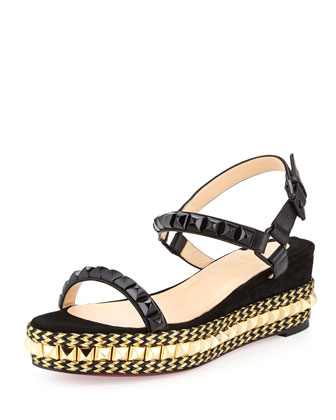 Low-Wedge Platform Espadrille Sandal, Black