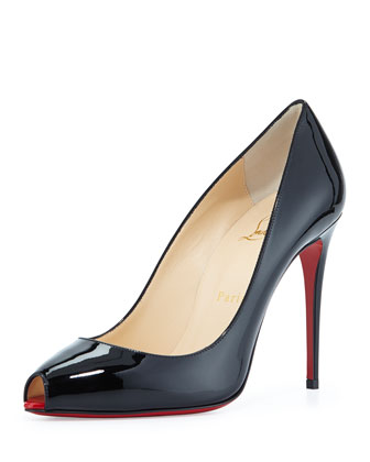 Patent Mini-Peep Red Sole Pump, Black