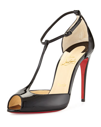 Senora Patent T-Strap Red Sole Sandal, Black