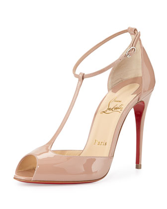 Senora Patent T-Strap Red Sole Sandal, Nude