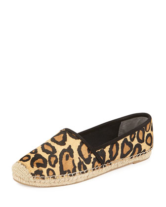 Lynn Calf Hair Flat Espadrille, New Nude Leopard