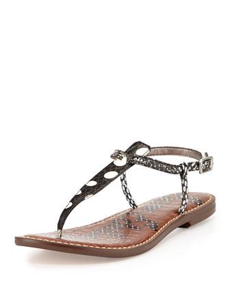 Gigi T-Strap Sandal, Black/White