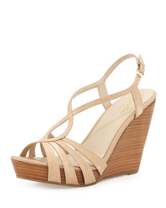 Brunette Strappy Wedge Sandal, Vacchetta