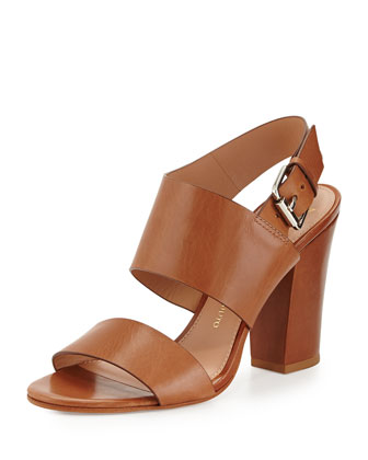 Debbey Double-Band Leather City Sandal, Nocciola Cognac