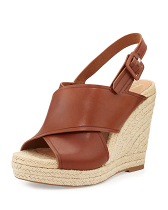 Davena Leather Wedge Espadrille, Nocciola/Cognac