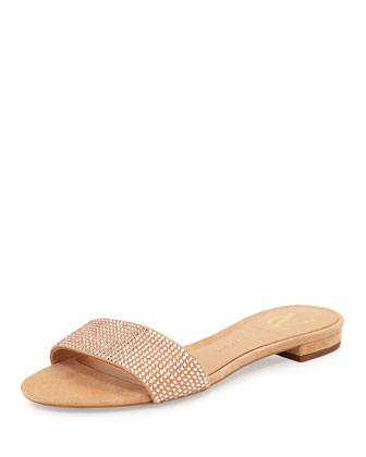 Sabley Embellished Suede Scuff Sandal, Buff