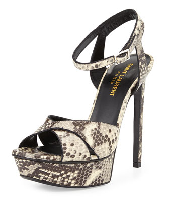 Python-Embossed Leather Sandal, White/Black