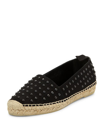 Studded Canvas Espadrille Flat, Black