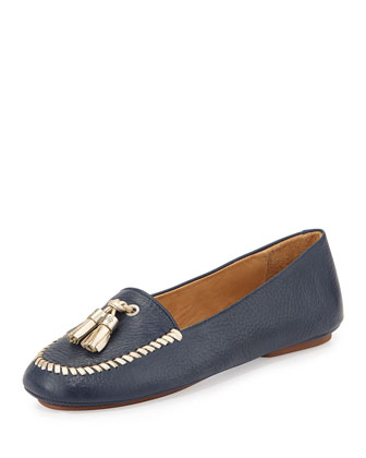 Terra Tassel Leather Loafer, Midnight/Platinum