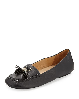 Terra Leather Tassel Loafer, Black
