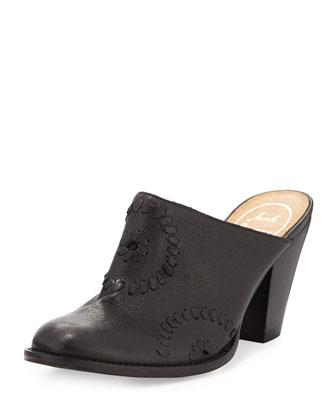Marley Leather Mule Slide, Black