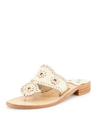 Palm Beach Whipstitch Thong Sandal, Bone/Platinum