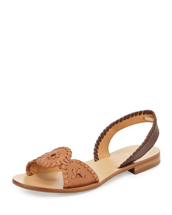 Liliana Leather Slingback Sandal, Cognac