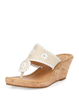 Marbella Leather Wedge Sandal, Bone/White