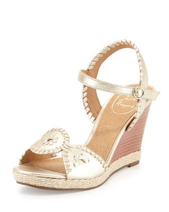 Clare Rope Wedge Sandal, Platinum
