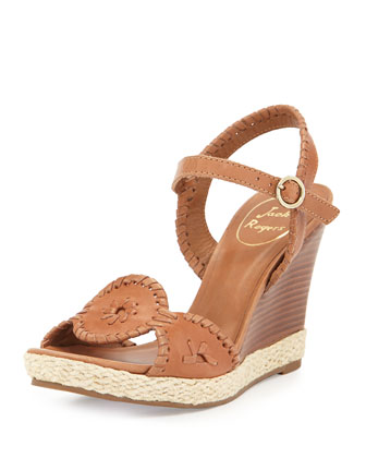 Clare Rope Wedge Sandal, Cognac