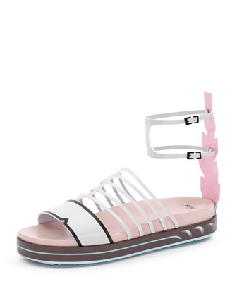 Colorblock Flat Cage Sandal, Pearl