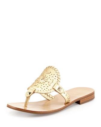 Georgica Metallic Thong Sandal, Gold
