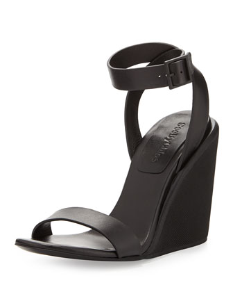 Keeni Leather Wedge Sandal, Black