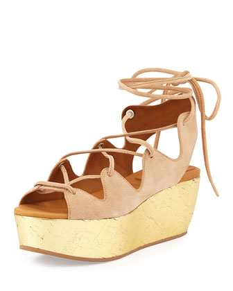 Liane Golden Cork Wedge Sandal, Nude