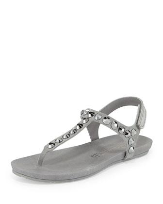 Judith Crystal-Studded Flat Thong Sandal