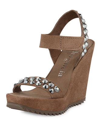 Vanesa Crystal-Studded Suede Wedge Sandal