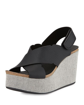 Dafne Leather Platform Wedge, Black