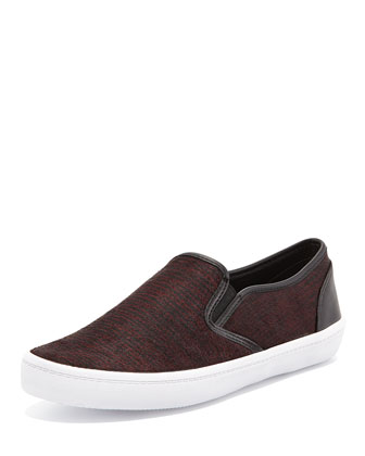 Salli Calf-Hair Skate Sneaker, Burgundy/Black