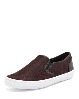 Salli Calf-Hair Skate Sneaker, Burgundy/Black